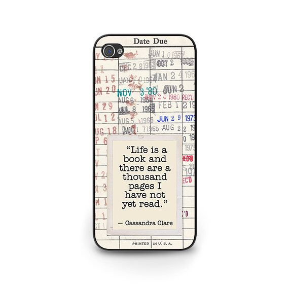 Cassandra Clare Quote Phone Case - Library Due Date Card iPhone 6 Case - iPhone 6 Gift for Readers - Library Checkout Card iPhone 6 Case by CaribouCreekCases on Etsy https://www.etsy.com/listing/221671658/cassandra-clare-quote-phone-case-library