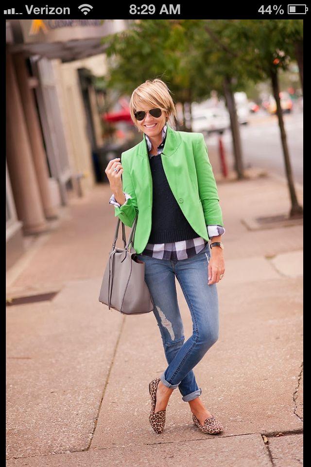 Bright blazer, black sweater, buffalo plaid button-down, jeans, animal print flats - Seersucker + Saddles