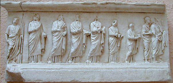ARA PACIS.  Altar cornice.