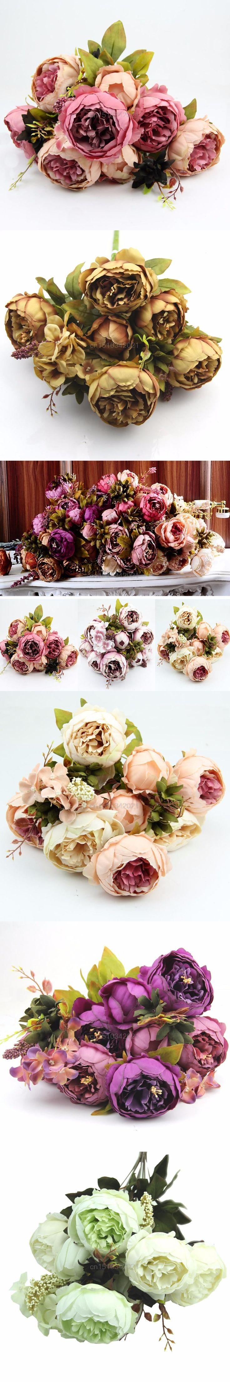 Peony Silk Flower 10Head of Bouquet Vintage Artificial Peony Silk Flower Room Wedding Floral Decor