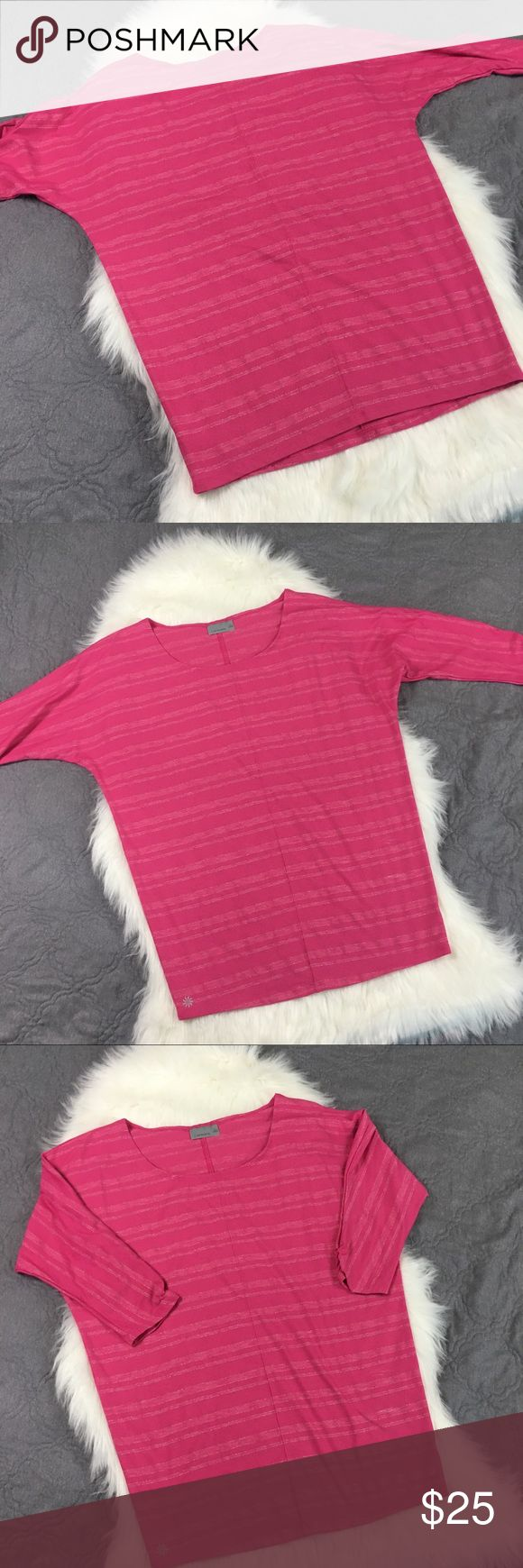 Athleta Pink & Silver Striped Batwing Tunic Top Comfy and cozy! This top will easily take you from yoga to lunch. Please see measurements in the photos, oversized fit. Excellent used condition. No trades but offers welcome Athleta Tops Tees - Long Sleeve