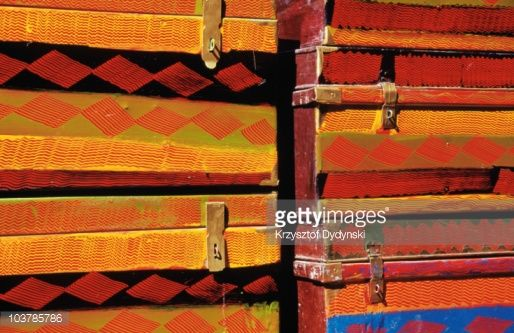 Stockfoto : Typical Tibetan-style wooden boxes for sale in backstreet of old town.