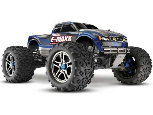 Traxxas E-Maxx Brushless RTR w/2 5000 LiPos & 2 Chgr by Traxxas. $978.53. This is a Traxxas E-Maxx Brushless Edition 4x4 1:10 Scale 4WD Ready-to-Run Brushless Monster Truck. When our engineers sat down to design the E-Maxx, they made sure it had all the strength and durability needed for today's most powerful aftermarket brushless setups. Give E-Maxx all you've got; its Brushless-Ready™ transmission is built for the burliest brushless motors, and the included Power C...
