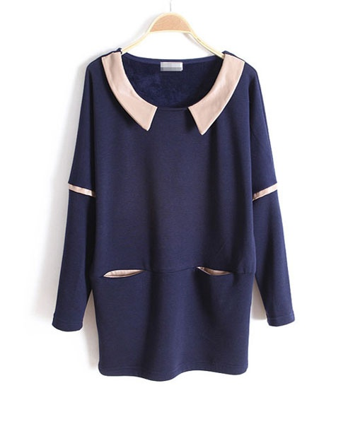 Loose Navy Napped Batwing T-shirt with Contrast PU Panel