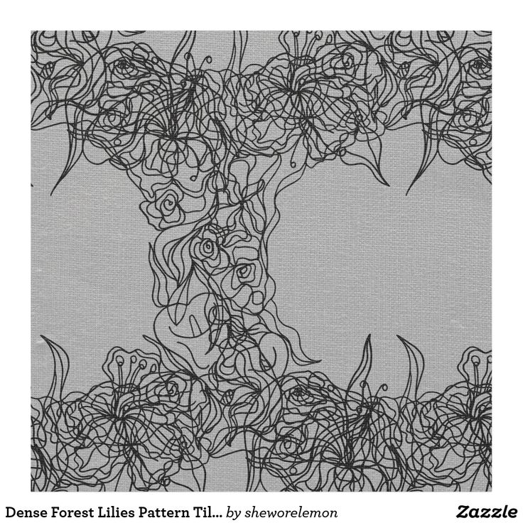 Dense Forest Lilies Pattern Tile Print Fabric