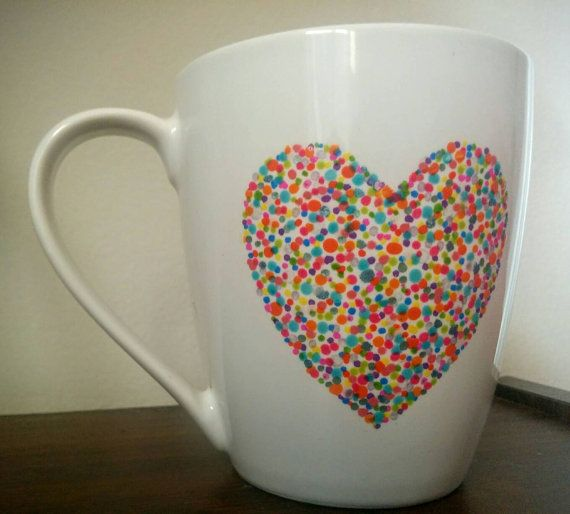 Check out this item in my Etsy shop https://www.etsy.com/listing/285592537/heart-mug-with-multicolor-hand-painted