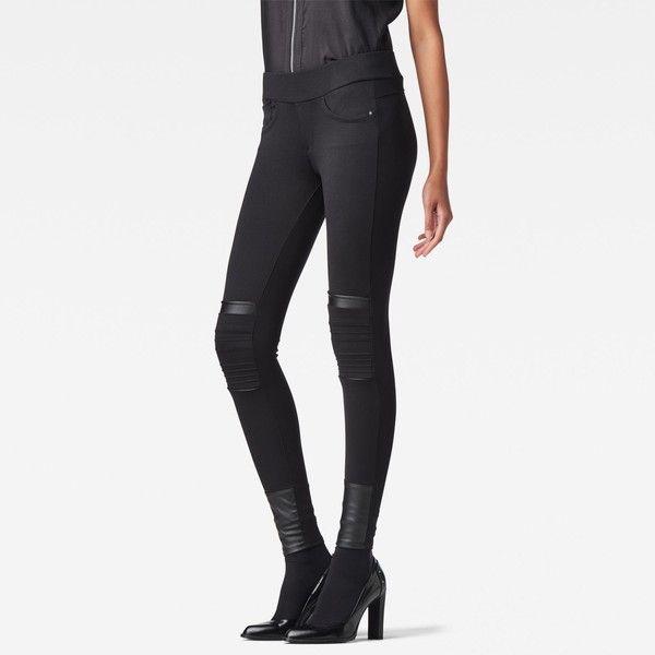 G-Star Raw Ultimate Stretch Slim Lynn Legging ($110) ❤ liked on Polyvore featuring pants, leggings, black, black pants, black skinny pants, skinny pants, black slim fit pants and skinny leggings