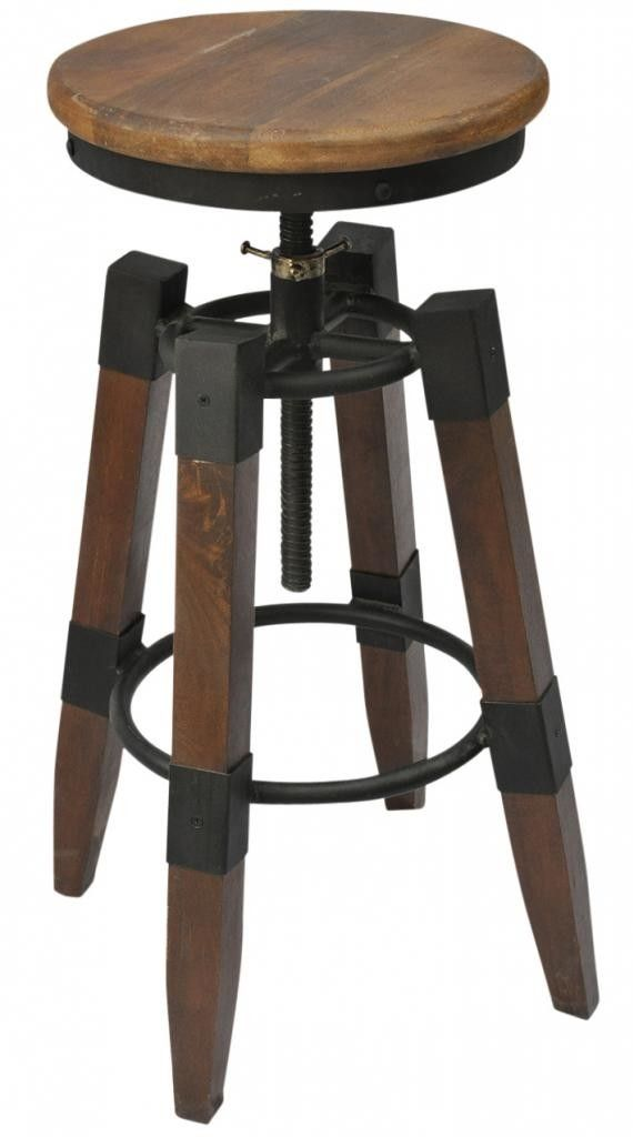 Features:  -Industrial inspired design.  -Manual screw-lift seat adjusts from bar to counter height.  -Solid mango wood stool top.  -Solid mango wood legs.  -Rustic black wrought iron footrest and det