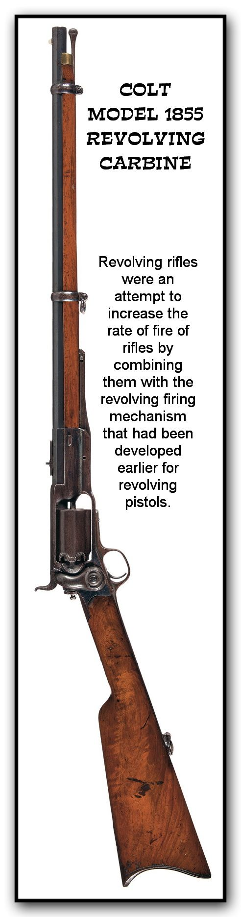 The most widely produced revolving rifle was the Model 1855. An estimated total of only 4,435 were manufactured in the Hartford factory c. 1856–1864.  This was produced in a rifle version as well as a shortened carbine. In 1855 it became the first repeating rifle to be adopted for service by the U.S. Military. The Colt revolving rifle saw limited use in the early west.