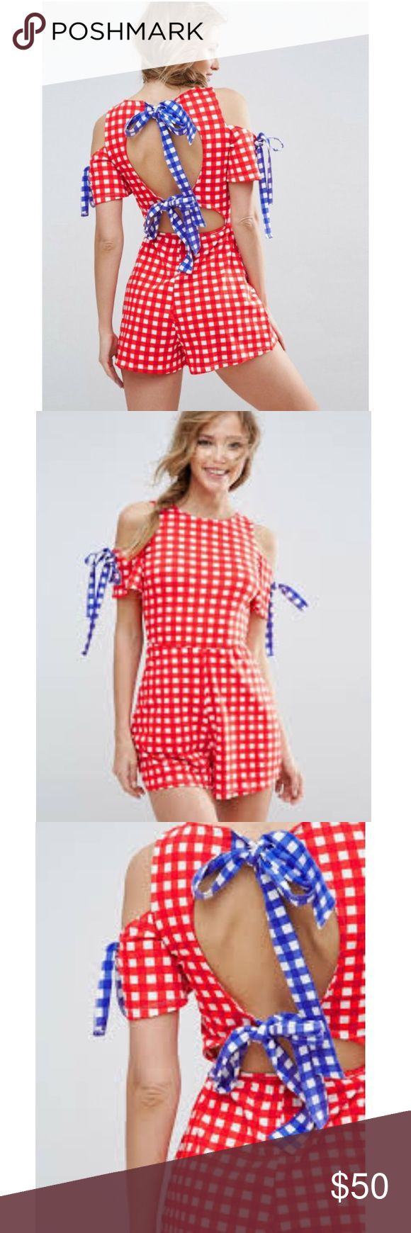 ASOS Jersey Bow Back Gingham Romper This is an NWT ASOS Bow Back Gingham Romper. Great condition. Red, white & blue. Ties in the back twice & on both shoulders. It is stretchy.   Size 14 Armpit to armpit- 20in Length- 34in Waist- 15 1/2in across 96% cotton & 4% elastane ASOS Pants Jumpsuits & Rompers
