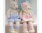 2 Knitting Patterns/ LILY & SAMUEL...Spring Baby Bunnies/ Pdf Toy Knitting Patterns