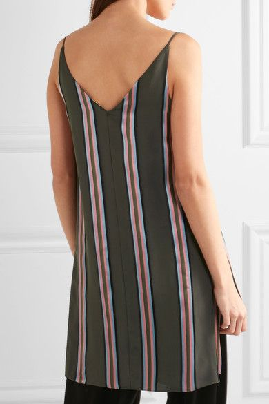 Adam Lippes - Striped Satin Top - Army green - US12