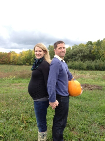 pumpkin maternity photo #fall Would have to be a white pumpkin for us to remember all those white pumpkin centerpieces at our wedding