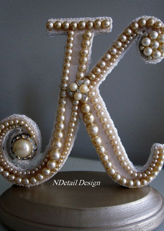 Monogrammed Custom Vintage Pearl Wedding Cake Topper - I have everything needed to make it.