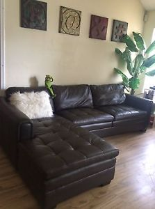 Beautiful Espresso Genuine Leather Sectional Sofa Couch for Sale Delivery GA | eBay