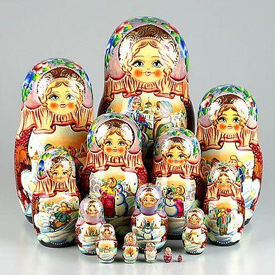 Russian Holiday Nesting Dolls 15 pcs.