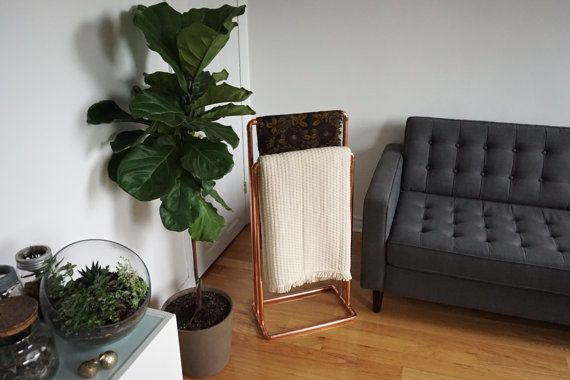 Free-Standing Copper Blanket Stand / Towel Rack