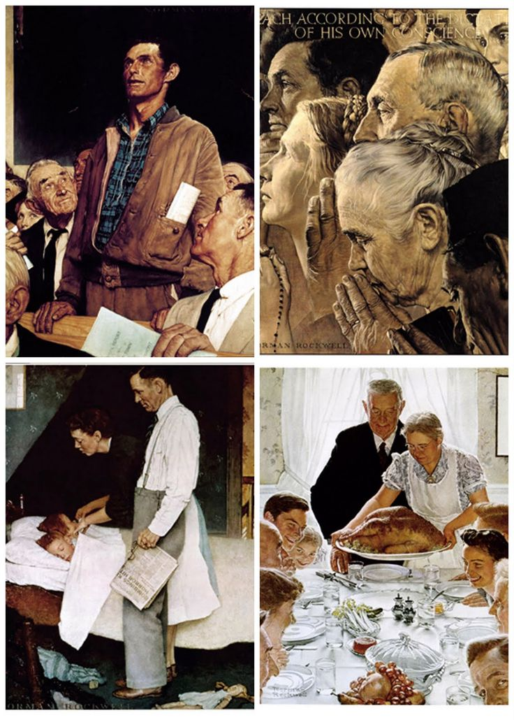 THE FOUR FREEDOMS - SPEECH, WORSHIP, FEAR & WANT.  The four paintings were published in The Saturday Evening Post on February 20, February 27, March 6 and March 13 in 1943.