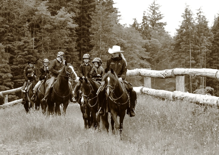 Family horseback rides through our trails at Clayoquot Wilderness Resort. www.wildretreat.com