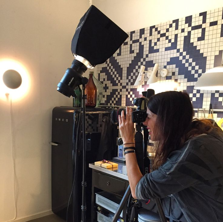 Pernille photographing the Poetic Pillows at the great flagshipstore Louis Poulsen in central Copenhagen.
