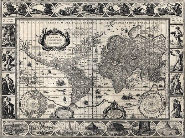 ancienne carte du monde nova totius terrarum orbis geographica ac hydrographica tabula auct. Black Bedroom Furniture Sets. Home Design Ideas