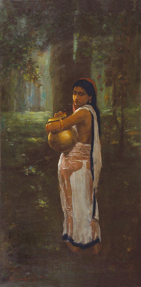Hemen Mazumdar Medium: Oil on canvas Year: 1921 Size: 48 x 24 in.