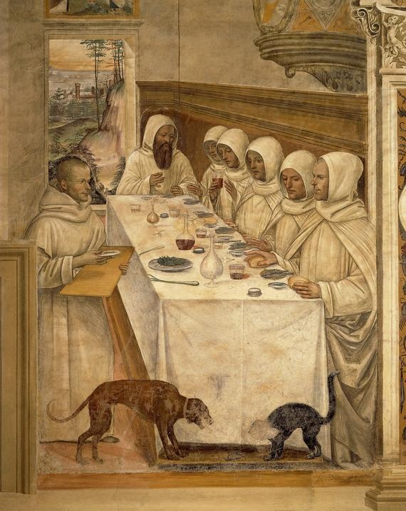 St. Benedict finds flour and feeds the monks, from the Life of St. Benedict