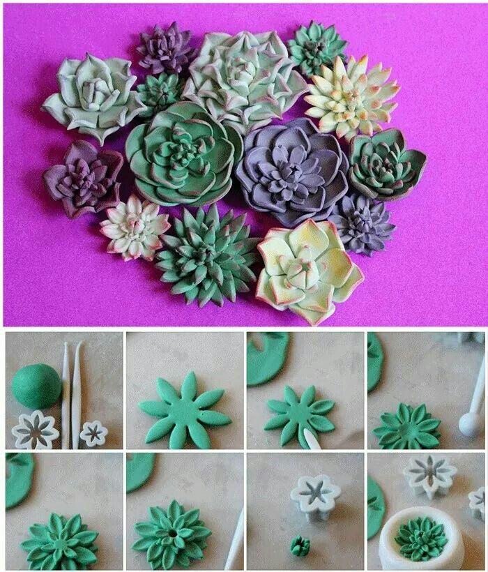 Flower DIY cake and Cupcakes (Try with Fimo clay to make  faux succulents!)