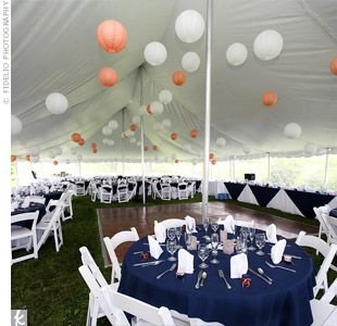 The Reception Decor- Navy overlays with peach napkinsReceptions Decor, Ideas, Paper Lanterns, Chinese Lanterns, Peaches Napkins Cut, Colors Schemes, Chine Lanterns, Peaches Accent