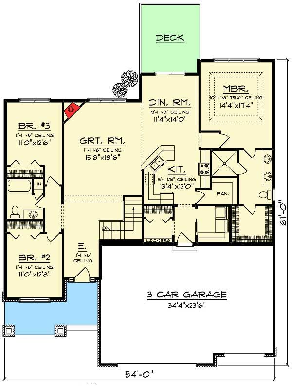 Plan 89988ah 3 Bed Craftsman Ranch With Open Concept Floor Plan Craftsman Design And Chang 39 E 3
