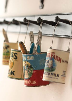 "Print vintage can labels from online, glue onto ""modern"" cans, fill with craft supplies."