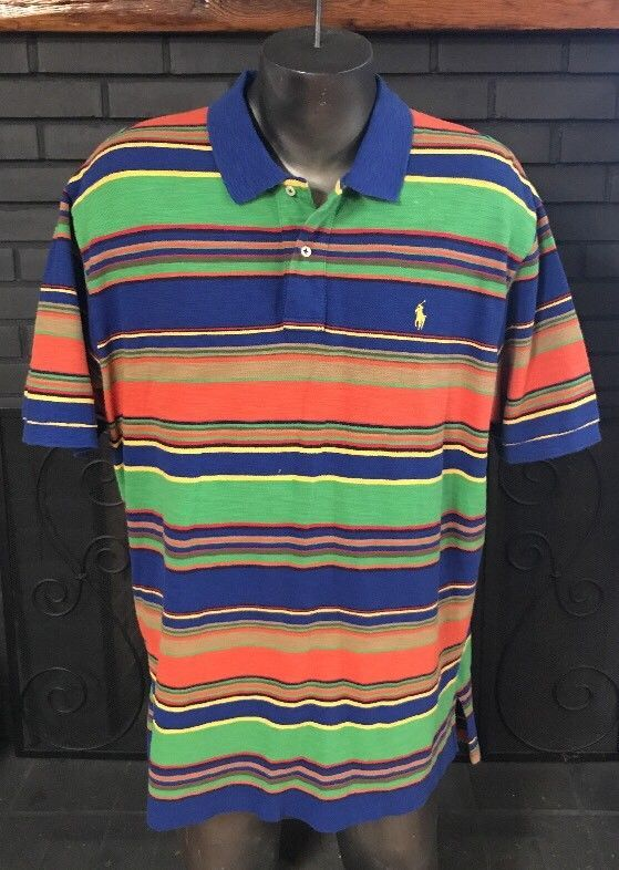 fcddda34d2 Ralph Lauren Golf Polo Blue Green Orange Yellow Striped Shirt Men's Size  2XL #PoloRalphLauren #PoloRugby