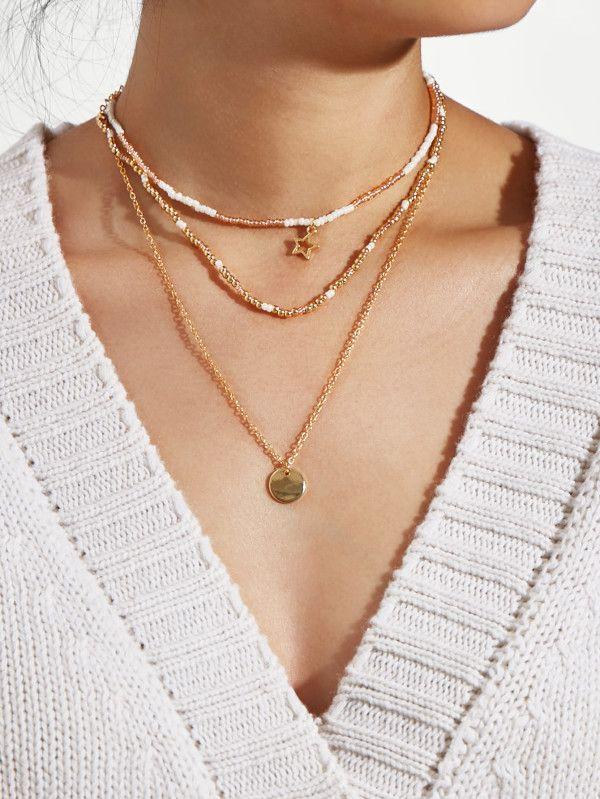 af4807ca87 Sequin & Star Layered Chain Necklace Set -SheIn(Sheinside) | Make ...