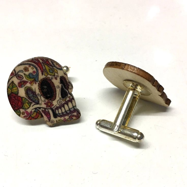 upcycled button cufflinks, sugar skull cufflinks, cute cufflinks, male gifts, stocking fillers, affordable gifts, quirky gifts by Buttonshedhandmade on Etsy