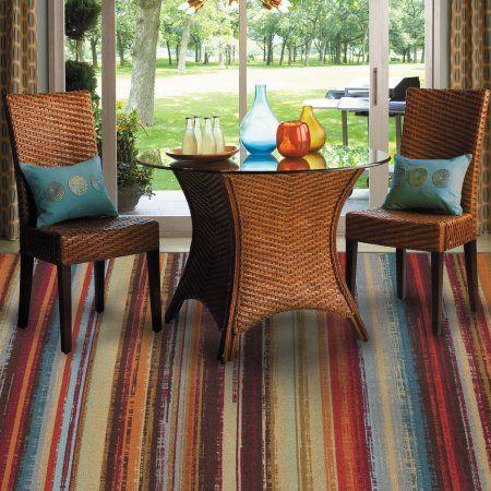 Mohawk Home Avenue Stripe Indoor/Outdoor Nylon Rug, Multi Colored