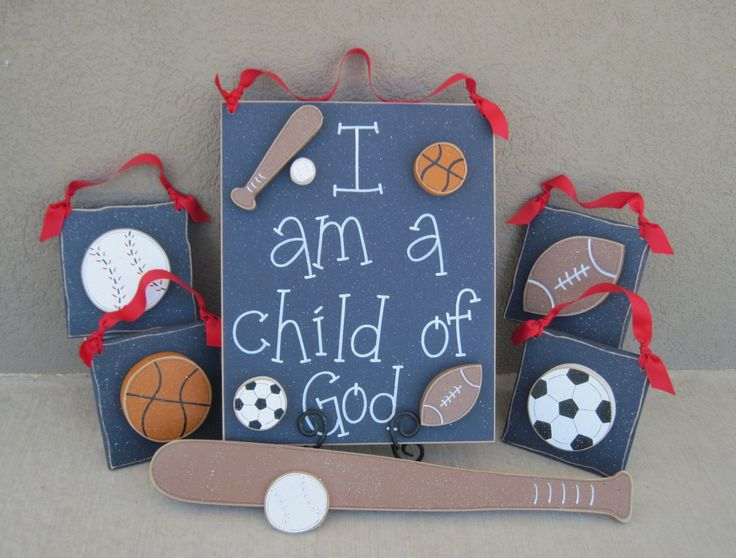 Set of Sports Themed  Boy Decor with a CHILD OF GOD sign (blue) for boy bedroom and wall hanging decor with sports theme. $64.95, via Etsy.