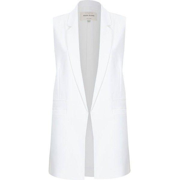 River Island White sleeveless tailored jacket featuring polyvore, fashion, clothing, jackets, river island, white, coats / jackets, sale and women