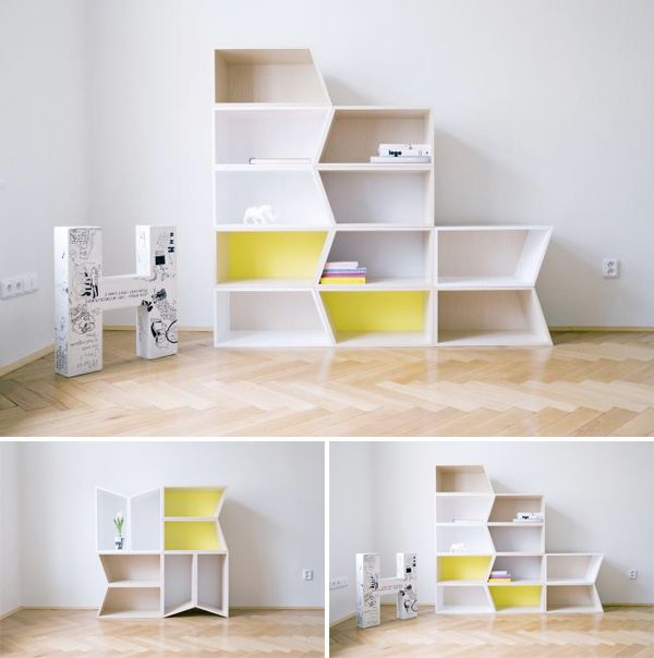 Awesome modular storage units, aka Cheeky Boxes, by Lucie Koldová of Process. You can stack them any which way to create your own patterns and set up.