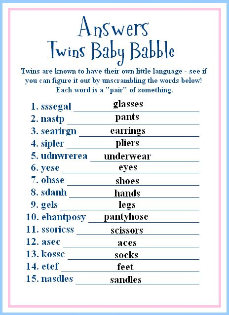 twins baby shower game ideas (okay you got the answers too)