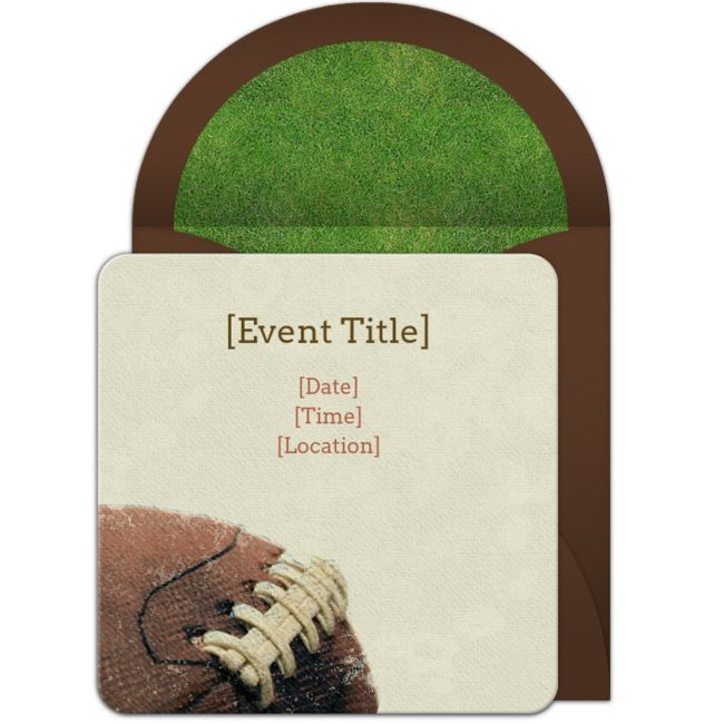 Customizable, free Football Laces online invitations. Easy to personalize and send for a Super Bowl party or football party. #punchbowl