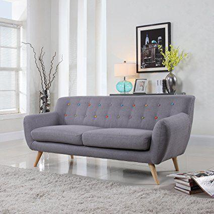 Amazon.com: mid-century moderno sofá, tela de lino Loveseat en colores gris claro, Polo Azul, Cielo azul, amarillo y rojo: Kitchen & Dining