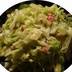 Creamed Cabbage Allrecipes.com  I might be subbing greek yogurt (whole milk if you please)  for sour cream