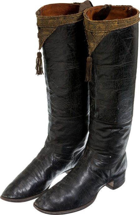 "Pair of European early 19th Century calvary Officers' Boots. Black leather with leather soles and composition heels. 14"" shafts with a gold lace border and tassel at the top. Approximately size 8."