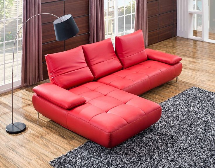 Genuine Red Leather Sectional Sofa