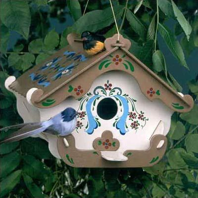 Swiss Inn Birdhouse Kit:     This adorable birdhouse kit by Greenleaf Dollhouses is made for bluebirds and cardinals. Because it needs no nails or glue to put together, this is an easy project you could do with your kids. A pattern for painting is included, and the site has several different birdhouse designs to choose from.    About $14; GreenLeafDollhouses.com