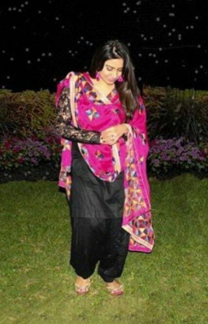 Black Suit N Majenta Phulkari Stunning Combo Just
