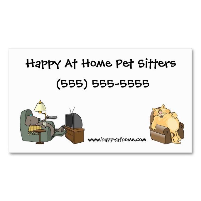 Pet Sitter Business Card Cat and Dog in Chairs. This great business card design is available for customization. All text style, colors, sizes can be modified to fit your needs. Just click the image to learn more!