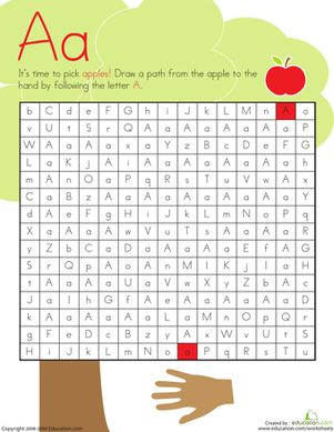 Kids will have an A-mazing time completing this A maze! They draw a path from the apple to the hand by following the A's on this kindergarten reading worksheet.