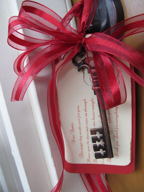 Dear Santa,  This magic key works just for you. Please open the door and come on through. Thank you for coming to our house tonight. We are celebrating the birth of Jesus Christ. Thank you Santa for the gifts you bring. Thank you Lord for everything.    Too cute!!