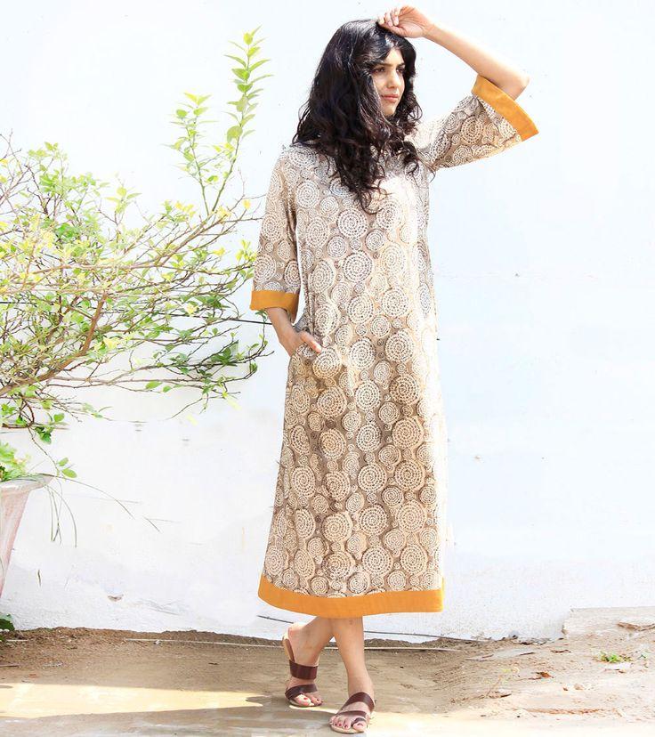 beige mandala print kimono dress by KharaKapas on Etsy
